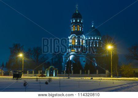 Night landscape with Voznesensk church in Trostyanets town, Ukraine