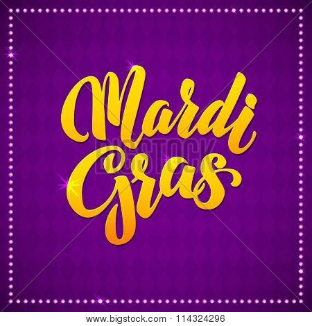 Mardi Gras Carnival Calligraphy Poster. Vector illustration Typographic Greeting card.