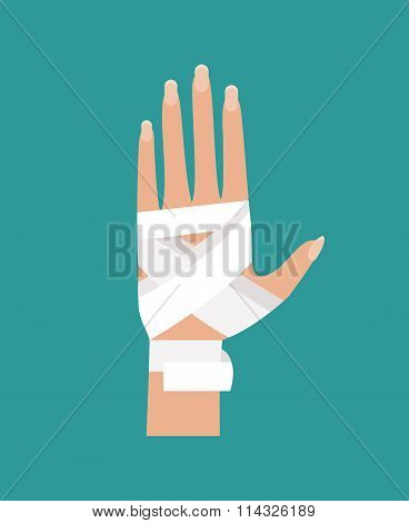 Bandaged Hand. Vector Illustration