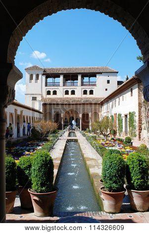 Generalife water channel garden, Alhambra Palace.