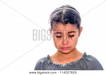 Little Girl Crying With Tears Rolling Down Her Cheeks Isolated On White