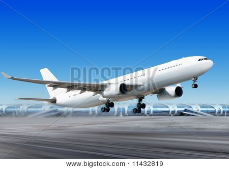 Flying-off Plane From Airport