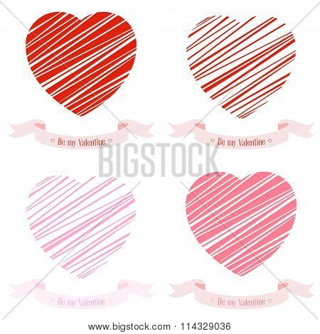 Set Of Banners For Design Posters Or Invitations On Valentine's Day With Two Cutest Symbol Heart
