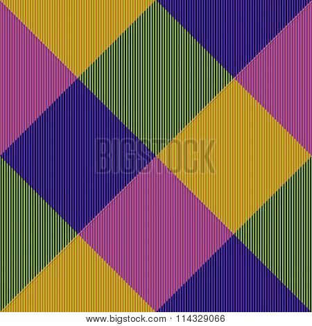 Abstract yellow pink violet green seamless checkerboard pattern with complementary colors