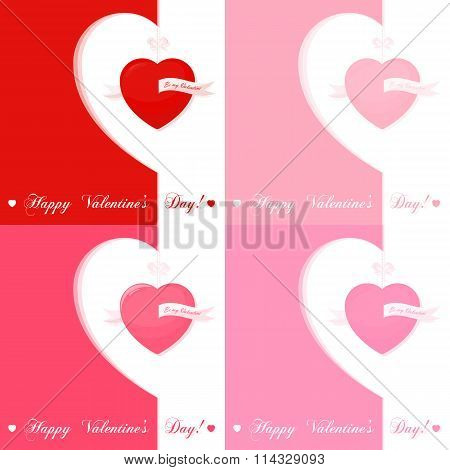 Set Of Banners For Design Posters Or Invitations On Valentine's Day With Cutest Symbol Hearts An