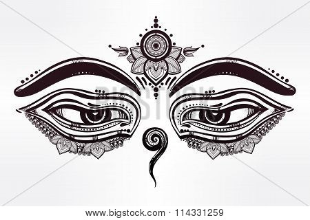 Eyes of Buddha, wisdom symbol illustration.