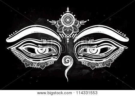 Eyes of Buddha, wisdom symbol illustration.