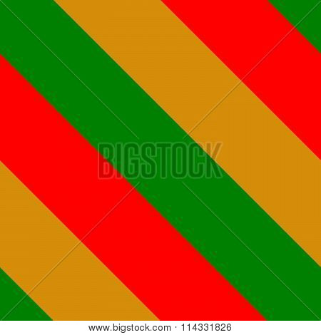 Thick diagonally red green orange stripes background