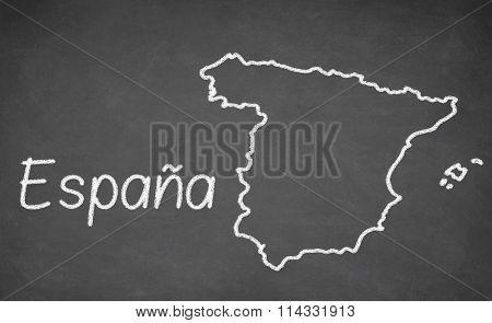 Spain map drawn on chalkboard