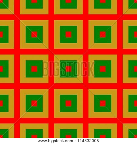 Red green ocher checkered cubist pattern