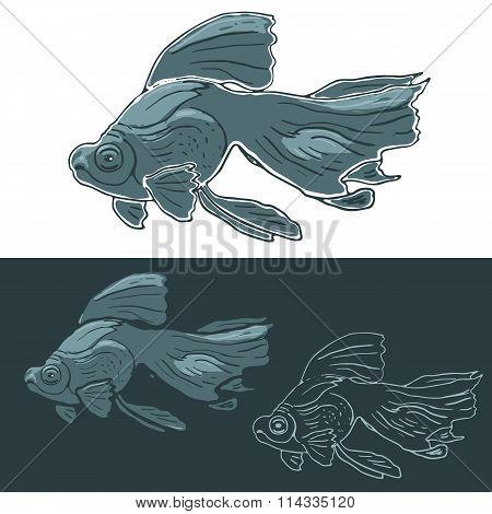 Black Moor Goldfish. Hand drawn vector set