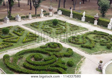 ROME ITALY - JUNE 14 2015: Marble statues in Villa Borghese public park in Rome. Italy Italy