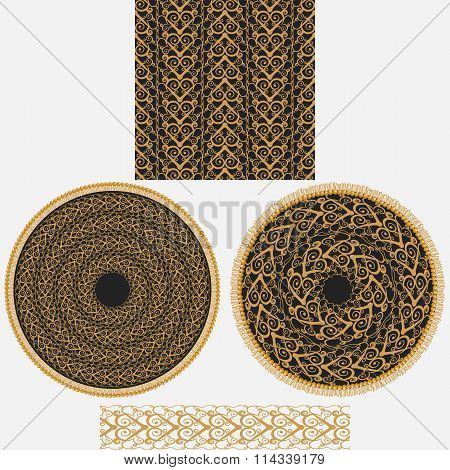 A Set Ornaments In Oriental Style.it Includes Seamless Square Pattern, Two Circular Mandala And Patt