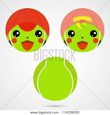 Character Tennis Ball. Cute Laughing Boy And A Girl.