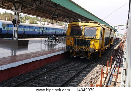 the passenger train in December, 2015 in the city of Morgao in India