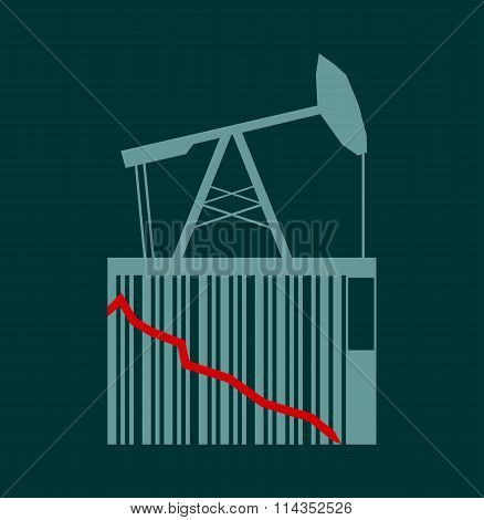 Oil Price Fall Graph Illustration. Pump On Bar Code