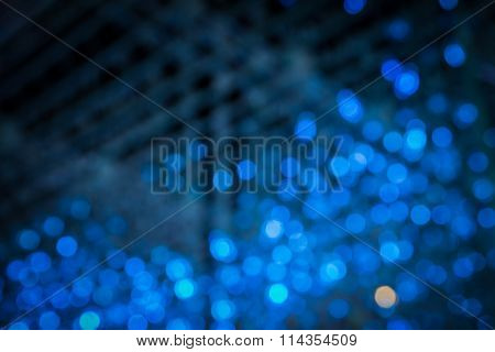 Closeup Of Abstract Blue Light Bokeh