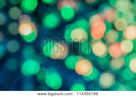 Closeup Of The Abstract Green Light Bokeh