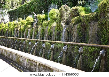 Le Cento Fontane, Villa D`este Fountain And Garden In Tivoli Near Roma, Italy