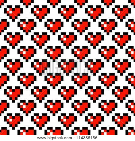Pixel art heart seamless pattern.