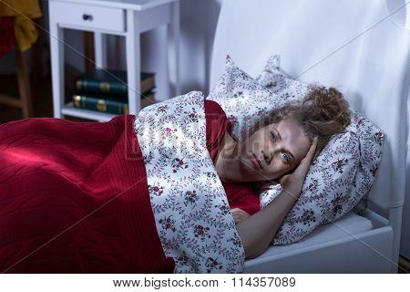 Woman Living Alone Suffering Insomnia