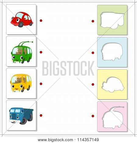 Set Of Red Car, Green Trolleybus, Yellow Bus And Blue Lorry. Educational Game For Kids
