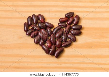 Closeup Of The Red Beans In Heart Shape