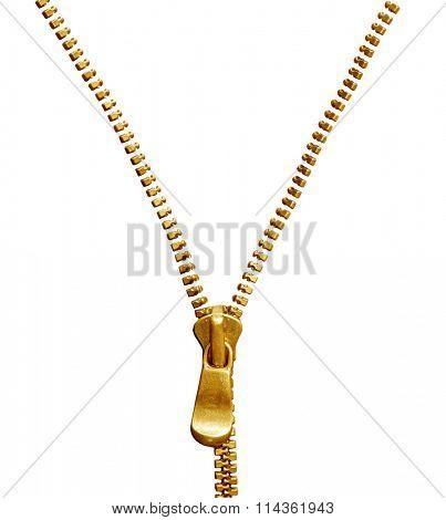 Opening golden zipper isolated on white background