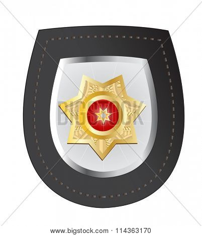 Raster illustration of a police badge isolated on white