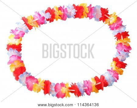 Necklace of bright colorful flowers lei isolated on white