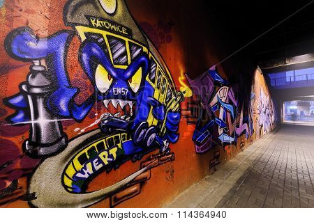 Street Graffiti. Creative Drawing On The Walls Of The City.