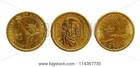 One dollar golden coins isolated on white