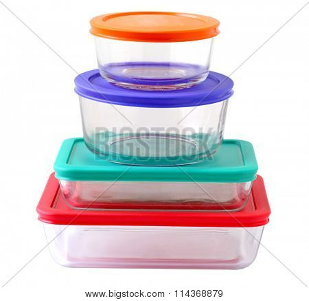 Stack of glass food containers isolated on white