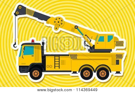 Big yellow crane with hook and arm.