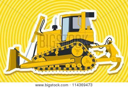Yellow big digger builds roads