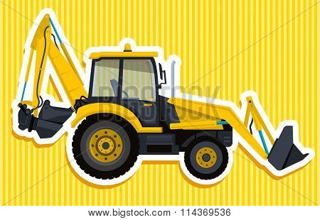 Yellow big digger builds roads.