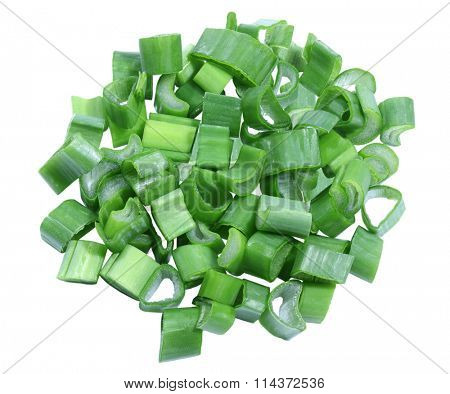 Pile of chopped green onion isolated on white background