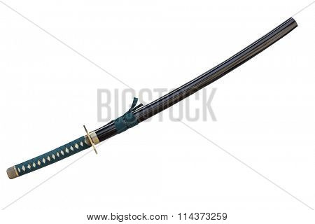 Katana  Japanese sword (Samurai sword) in scabbard isolated on white background