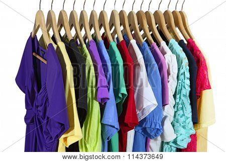 Short Sleeve female clothes on hanger isolated over white