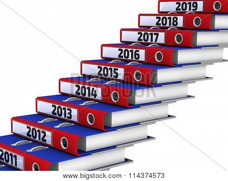 Folders stacked in the form of steps, marked the years 2011-2019
