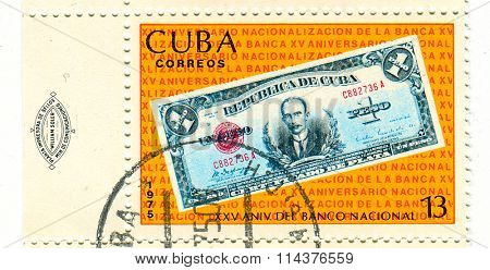 GOMEL, BELARUS - JANUARY 2016: A stamp printed in Cuba shows image of dedicated 25 aniversare The Central Bank of Cuba (Spanish: Banco Central de Cuba, BCC) is the central bank of Cuba, circa 1975.