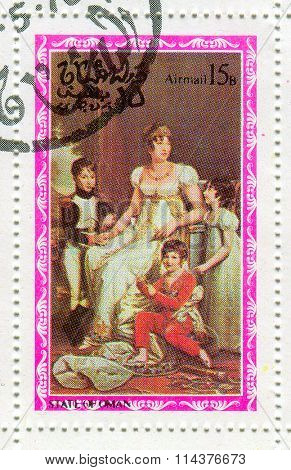 GOMEL, BELARUS - JANUARY 2016: A stamp printed in State Of Oman shows image of the Josephine de Beauharnais (nee Tascher de la Pagerie; 23 June 1763 -?? 29 May 1814)was wife of Napoleon I, circa 1976.