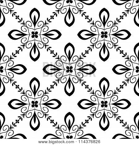 Seamless pattern with abstract ornament black and white