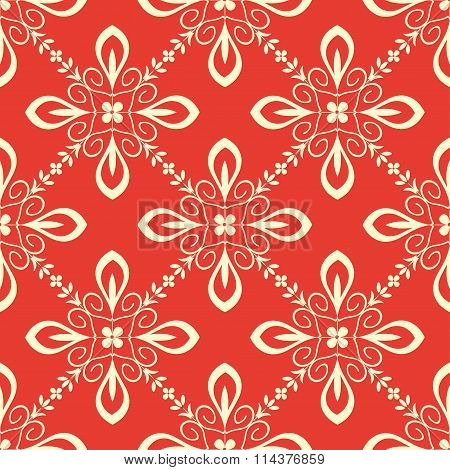 Seamless pattern with abstract ornament white on red