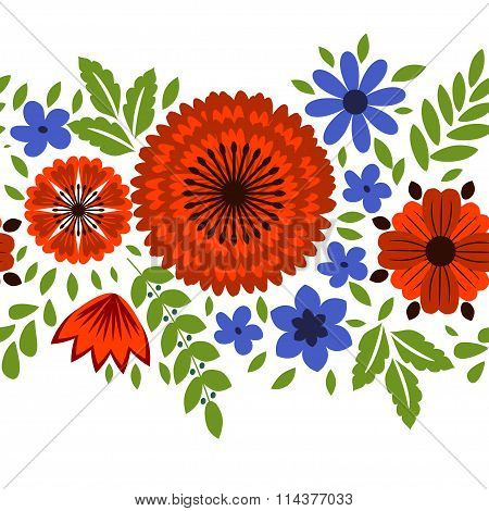Flolral background with decorative pattern red and blue flowers
