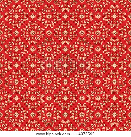 Seamless pattern with abstract ornament red on white