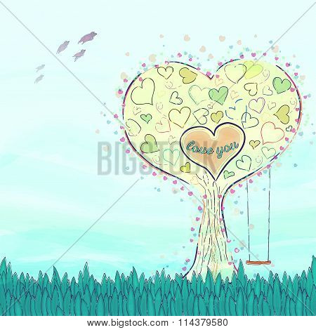 Love Tree with heart shapes