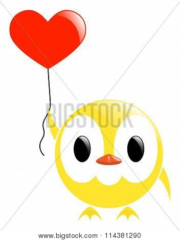 Vector Chick And Heart