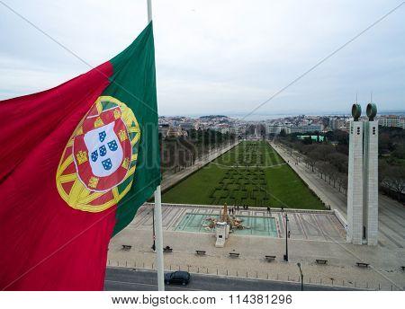 Portuguese Flag on Edward vii Park in Lisbon, Portugal