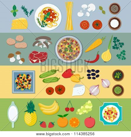 Food ingredients vector flat illustration